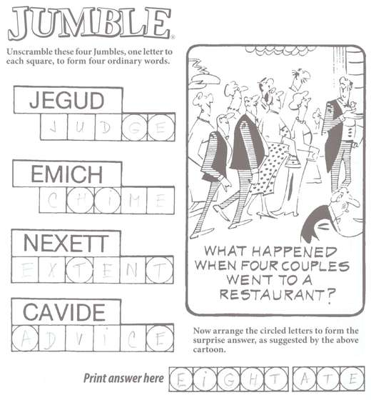 examples of use in solving several jumble puzzles